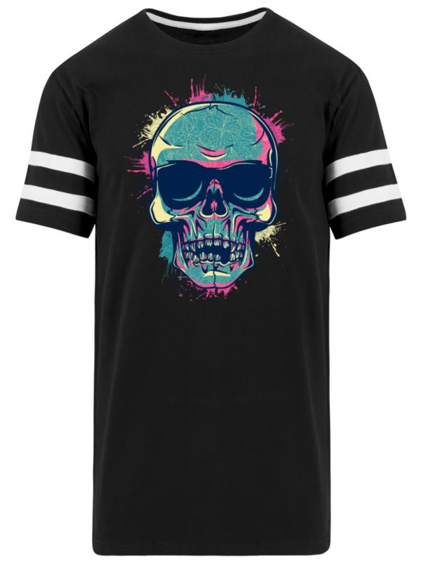 SpreeRocker Neon Skull - Striped Long Shirt-16