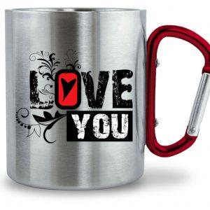 Edelstahltasse LOVE YOU - Edelstahltasse mit Karabinergriff-6989