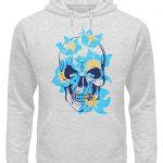 SpreeRocker Blue Skull - Unisex Organic Hoodie-6892