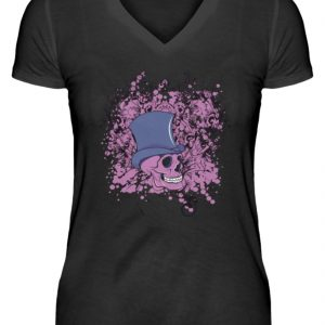 SpreeRocker Pink Skull - V-Neck Damenshirt-16