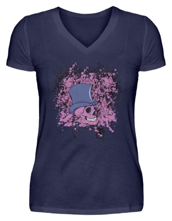 SpreeRocker Pink Skull - V-Neck Damenshirt-198
