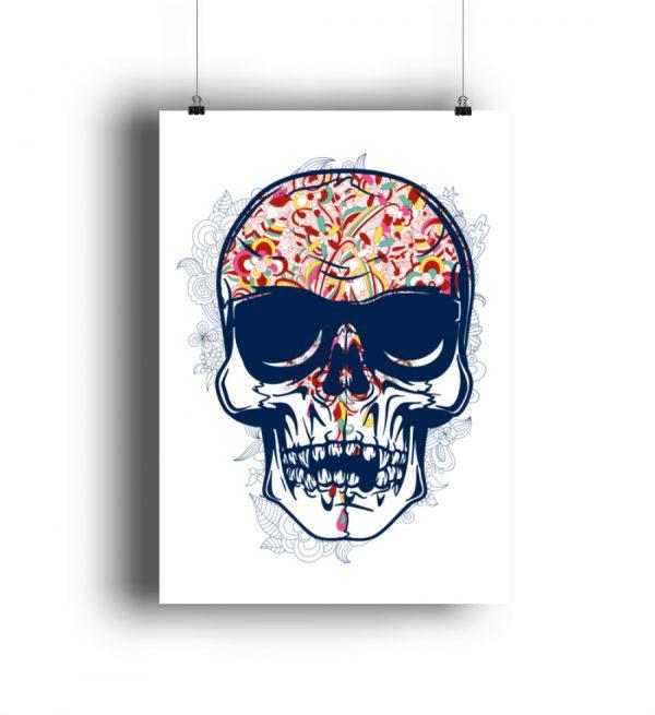 Poster Coloured Skull - DIN A1 Poster (hochformat)-3