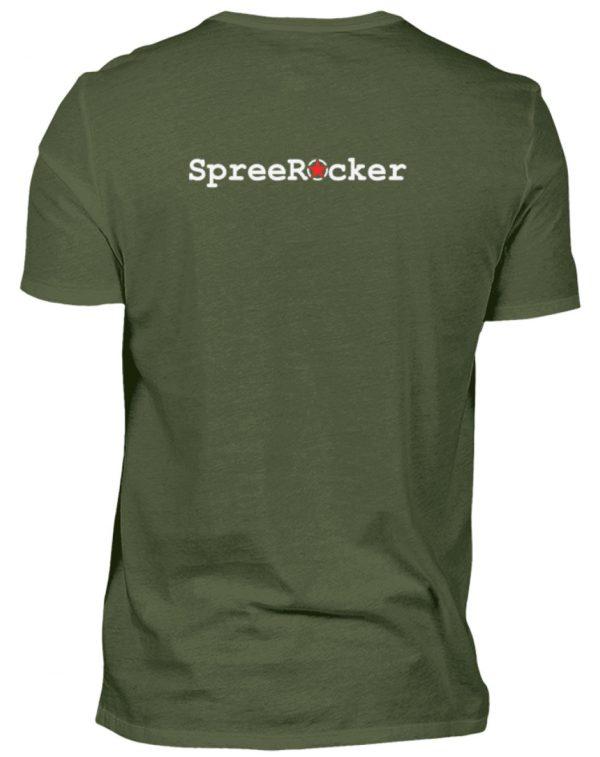 SpreeRocker Orange Skull - Herren V-Neck Shirt-2587