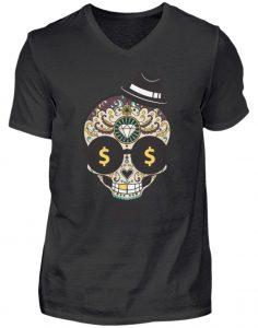 SpreeRocker Dollar Skull - Herren V-Neck Shirt-16