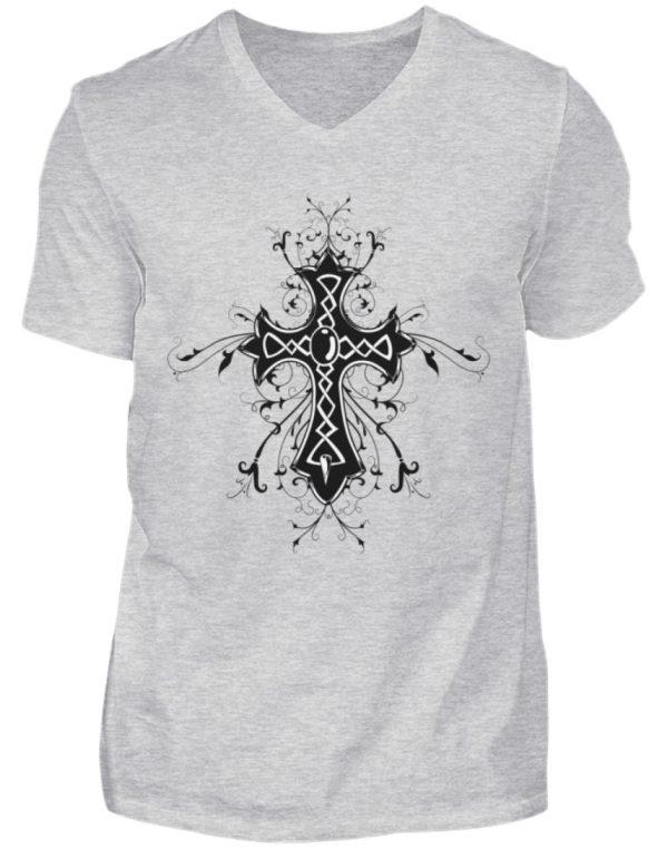 SpreeRocker Black Cross - Herren V-Neck Shirt-236