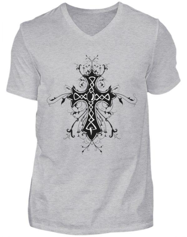 SpreeRocker Black Cross - Herren V-Neck Shirt-17