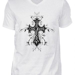 SpreeRocker Black Cross - Herren V-Neck Shirt-3