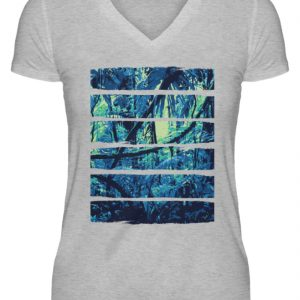 SpreeRocker Blue Jungle - V-Neck Damenshirt-17