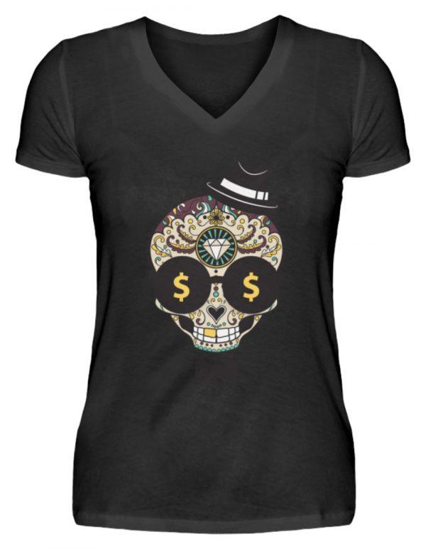 SpreeRocker Dollar Skull - V-Neck Damenshirt-16
