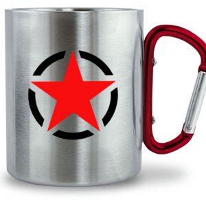 Edelstahltasse SpreeRocker Red Star - Edelstahltasse mit Karabinergriff-6989