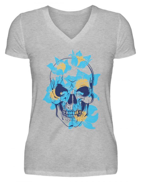 SpreeRocker Blue Skull - V-Neck Damenshirt-17