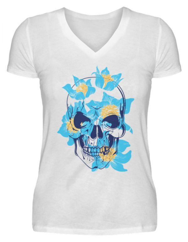 SpreeRocker Blue Skull - V-Neck Damenshirt-3