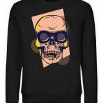 SpreeRocker Orange Skull - Unisex Organic Sweatshirt-16