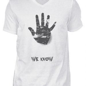 SpreeRocker We Know - Herren V-Neck Shirt-3