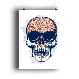 Poster Coloured Skull - DIN A0 Poster (hochformat)-3