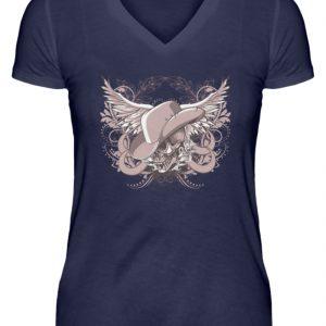 SpreeRocker Rose Skull - V-Neck Damenshirt-198