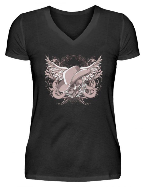 SpreeRocker Rose Skull - V-Neck Damenshirt-16