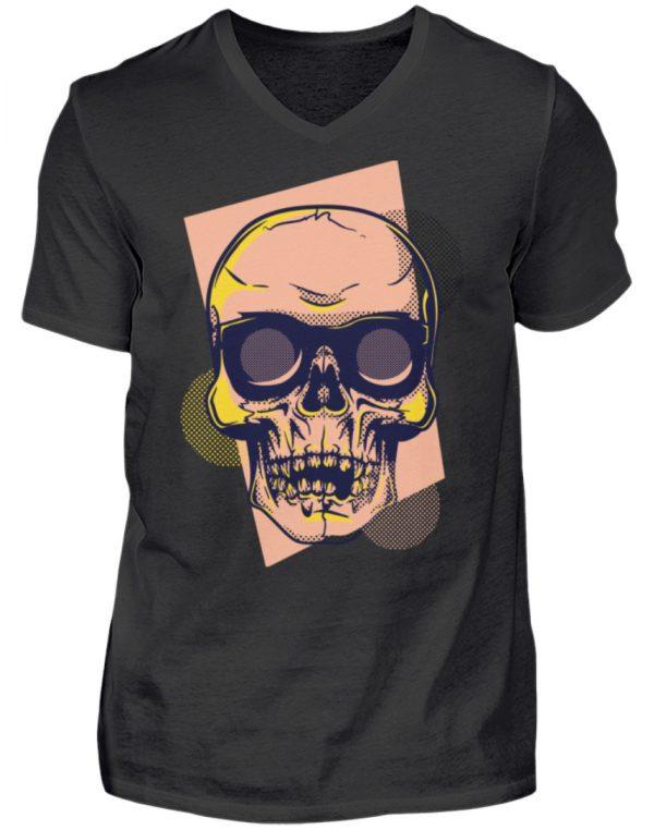 SpreeRocker Orange Skull - Herren V-Neck Shirt-16