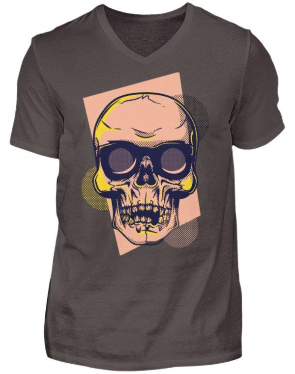 SpreeRocker Orange Skull - Herren V-Neck Shirt-2618