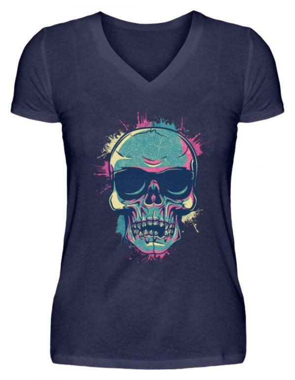 SpreeRocker Neon Skull - V-Neck Damenshirt-198