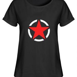 SpreeRocker Red + White Star - Damen RollUp Shirt-16