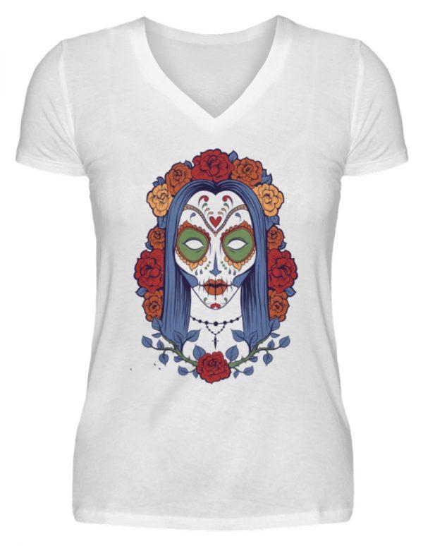 SpreeRocker Flower Skull - V-Neck Damenshirt-3