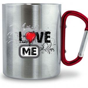 Edelstahltasse LOVE ME - Edelstahltasse mit Karabinergriff-6989