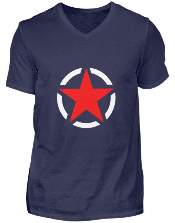 SpreeRocker Red + White Star - Herren V-Neck Shirt-198