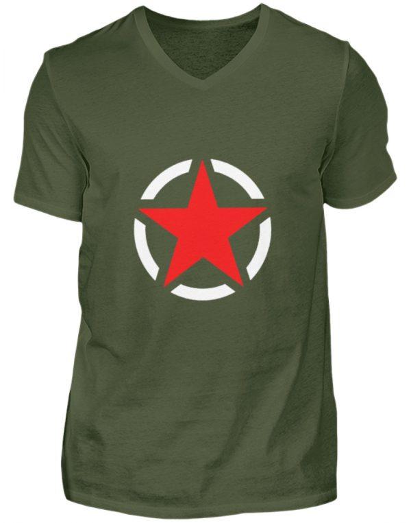 SpreeRocker Red + White Star - Herren V-Neck Shirt-2587
