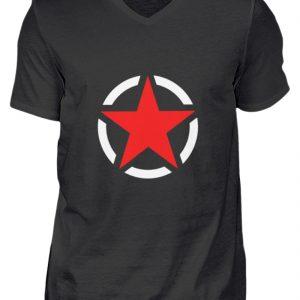 SpreeRocker Red + White Star - Herren V-Neck Shirt-16