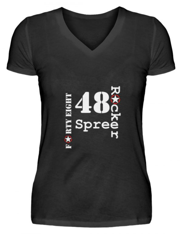 SpreeRocker Forty Eight weiss - V-Neck Damenshirt-16