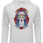 SpreeRocker Flower Skull - Unisex Organic Hoodie-6892
