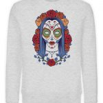 SpreeRocker Flower Skull - Unisex Organic Sweatshirt-6892