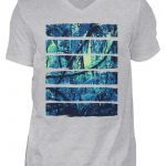 SpreeRocker Blue Jungle - Herren V-Neck Shirt-17