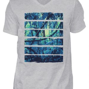 SpreeRocker Blue Jungle - Herren V-Neck Shirt-17