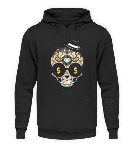 SpreeRocker Dollar Skull - Unisex Kapuzenpullover Hoodie-1624