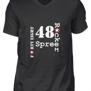 SpreeRocker Forty Eight weiss - Herren V-Neck Shirt-16