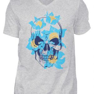 SpreeRocker Blue Skull - Herren V-Neck Shirt-236