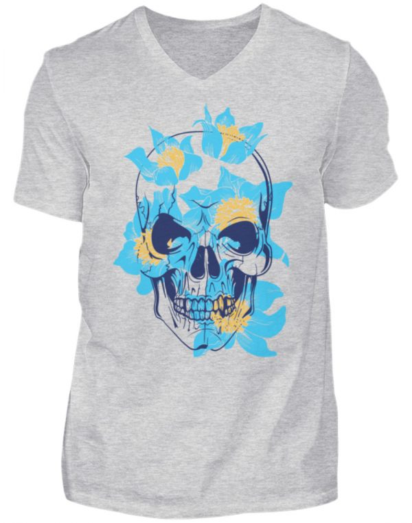 SpreeRocker Blue Skull - Herren V-Neck Shirt-236
