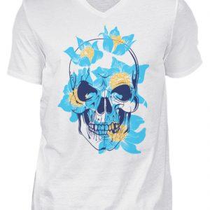 SpreeRocker Blue Skull - Herren V-Neck Shirt-3