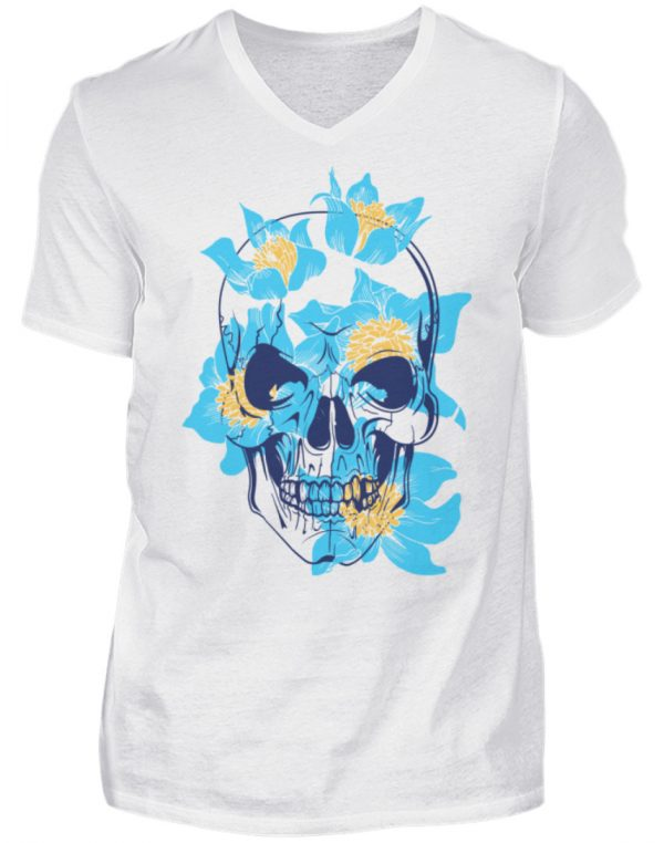 SpreeRocker Blue Skull - Herren V-Neck Shirt-3