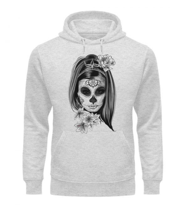 SpreeRocker Black White Skull - Unisex Organic Hoodie-6892