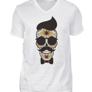 SpreeRocker Sunglasses Skull - Herren V-Neck Shirt-3