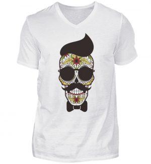 SpreeRocker Sunglasses Skull - Herren V-Neck Shirt-3