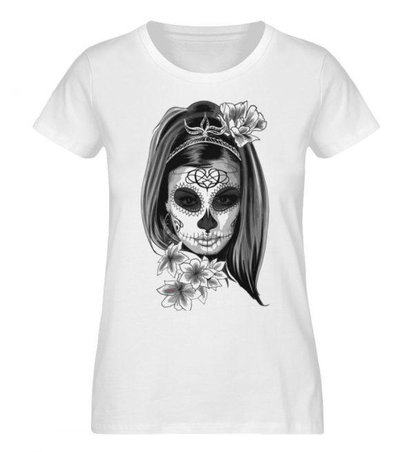 SpreeRocker Black White Skull - Damen Premium Organic Shirt-3