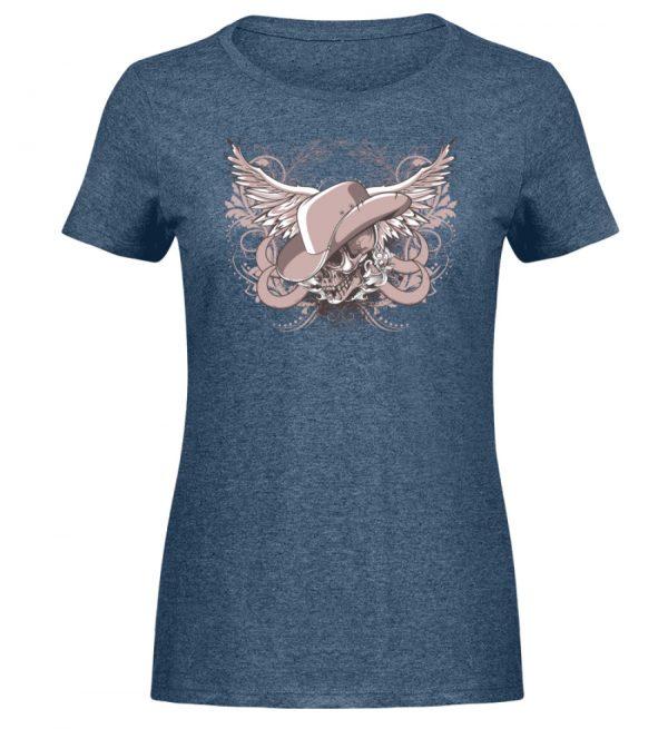 SpreeRocker Rose Skull - Damen Melange Shirt-6803
