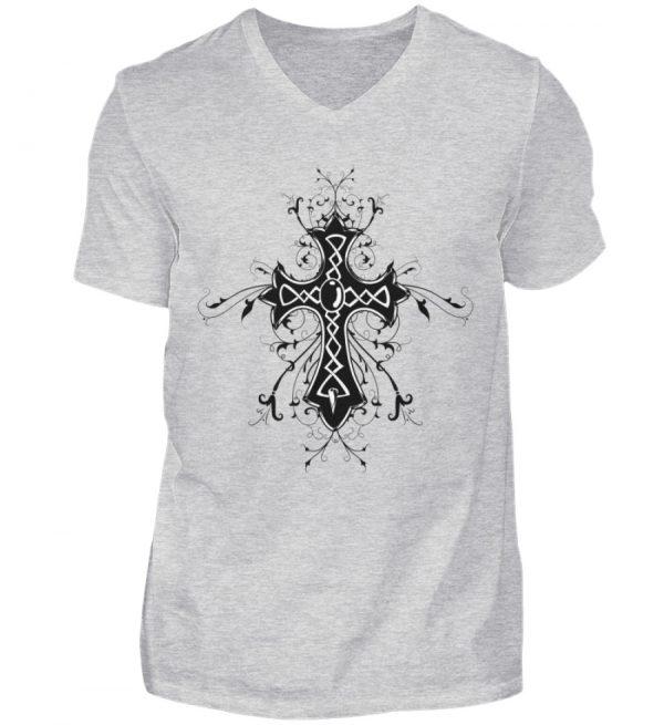 SpreeRocker - Black Cross - Herren V-Neck Shirt-236