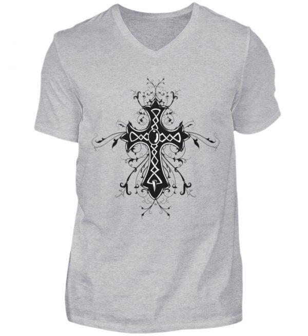 SpreeRocker - Black Cross - Herren V-Neck Shirt-17