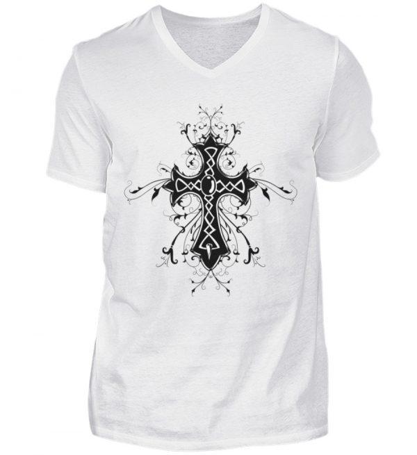 SpreeRocker - Black Cross - Herren V-Neck Shirt-3