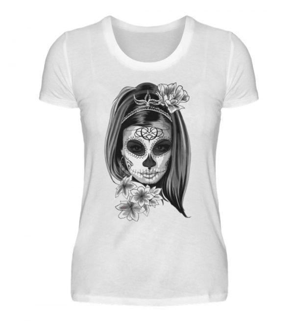SpreeRocker Black White Skull - Damenshirt-3